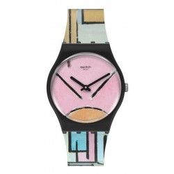 Swatch Uhr MoMA Composition in Oval with Color Planes 1 by Piet Mondrian GZ350