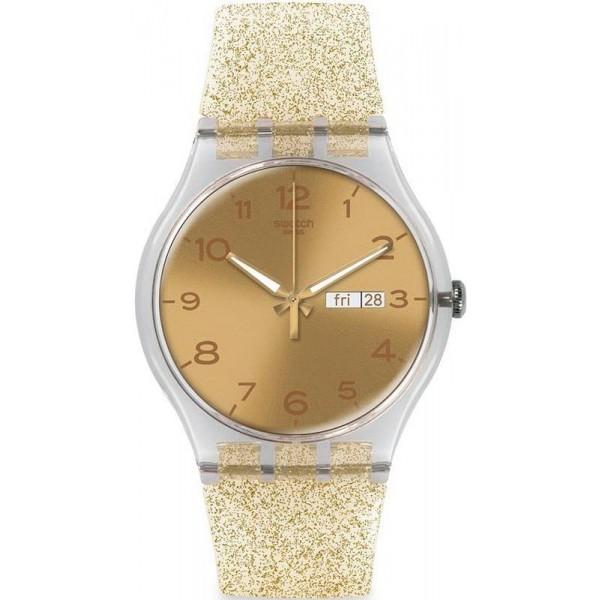 Kaufen Sie Swatch Damenuhr New Gent Golden Sparkle SUOK704