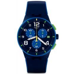 Swatch Herrenuhr Chrono Plastic Bleu Sur Bleu SUSN409